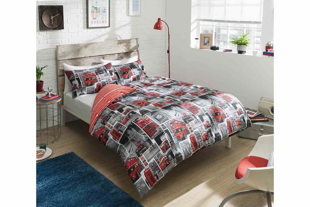 London Bus Design Duvet Cover And Pillowcase Set